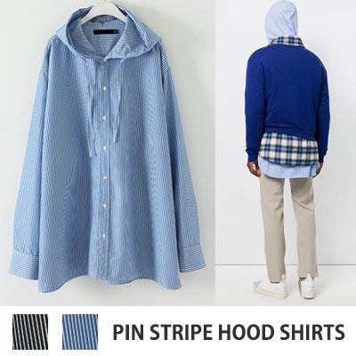 [UNISEX] オーバーサイズピンストライプフードシャツ(2color)