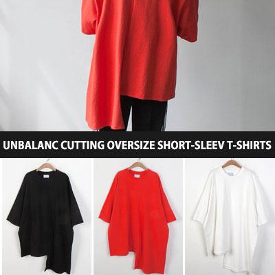 [UNISEX]アンバランスカットオーバーサイズショートスリーブTシャツ/半袖(3color)