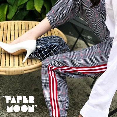 【PAPER MOON】ワイドレッドポイントジョガーパンツ (2size)