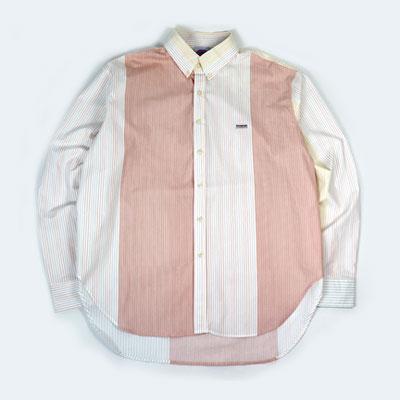 [UNISEX] ピンクピンストライプミックスパッチシャツ