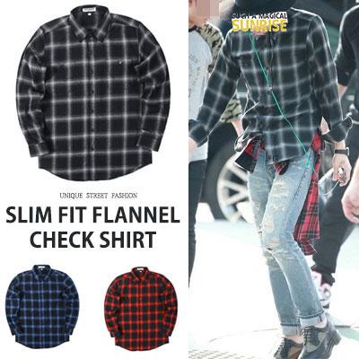 [UNISEX] BIGBANG/GD/GDRAGON st. スリムフィットフランネルチェックシャツ(3color)