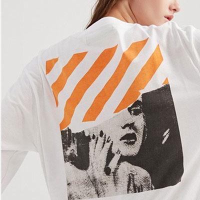 [UNISEX] Justin bieber st.オレンジ斜めウーマンプリントショートスリーブtシャツ/半袖(2color)
