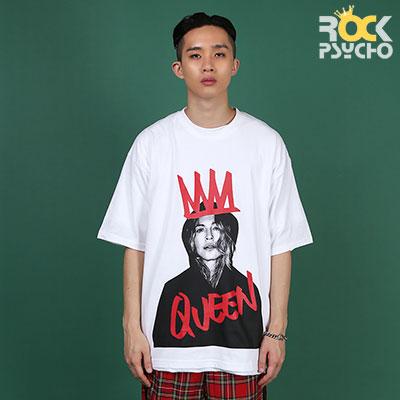 【ROCK PSYCHO】クイーンプリント半袖Tシャツ - WHITE