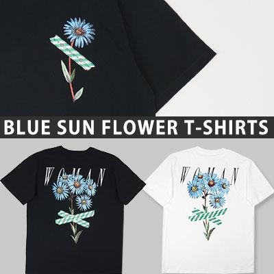 [UNISEX] ブルーひまわりプリントショートスリーブtシャツ/半袖(2color)