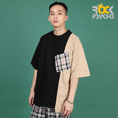 【ROCK PSYCHO】アンバランスロンドンポケット半袖Tシャツ-BEIGE
