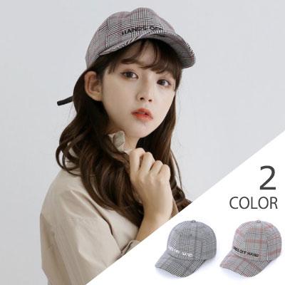 [UNISEX] 刺繍ロゴグレンチェックボールキャップ(2color)