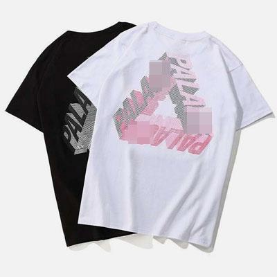 [UNISEX] スケッチ3DトライアングルロゴショートスリーブTシャツ/半袖(2color)