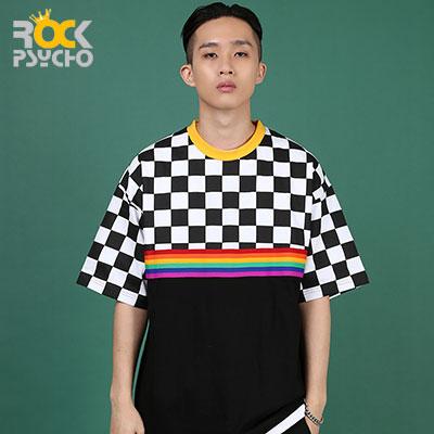 【ROCK PSYCHO】チェッカーレインボー半袖Tシャツ