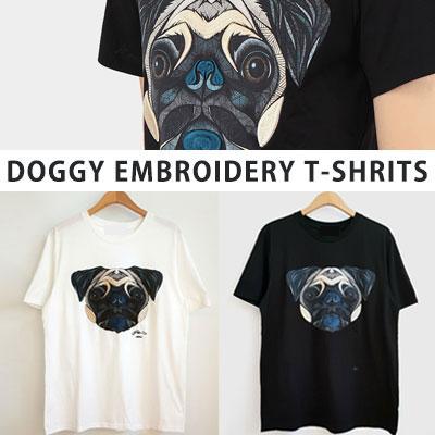 [UNISEX] 犬刺繍tシャツ/半袖(2color)