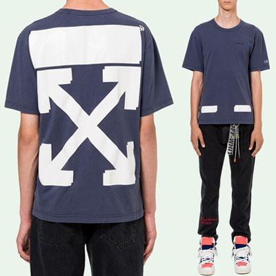 [UNISEX] ホワイトアロープリントショートスリーブTシャツ/半袖-NAVY
