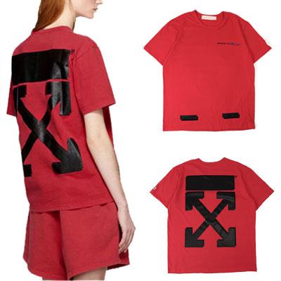 [UNISEX] ホワイトアロープリントショートスリーブTシャツ/半袖-PINK