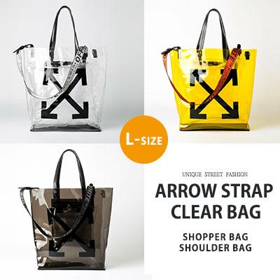 [L-SIZE] アローストラップクリアバッグ/ショッパーバッグ/ショルダーバッグ(3color)