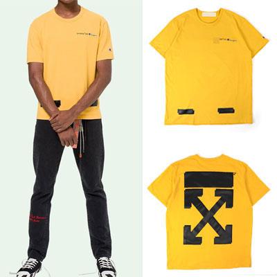 [UNISEX] ホワイトアロープリントショートスリーブTシャツ/半袖-YELLOW