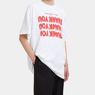 [UNISEX] THANK YOU オレンジロゴショートスリーブtシャツ/半袖(2color)