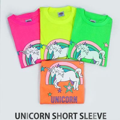 [UNISEX] レインボースターユニコーンショートスリーブtシャツ/半袖(4color)
