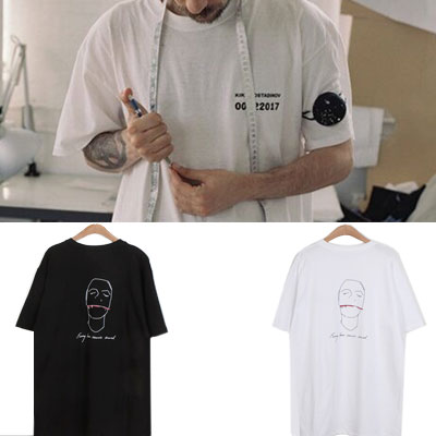 [UNISEX] フェイススケッチtシャツ/半袖(2color)