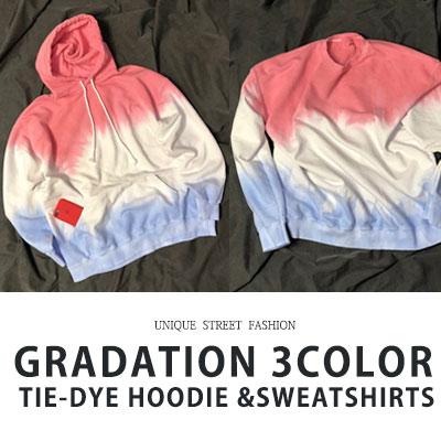 [UNISEX] グラデーション3色フード/スウェットシャツ