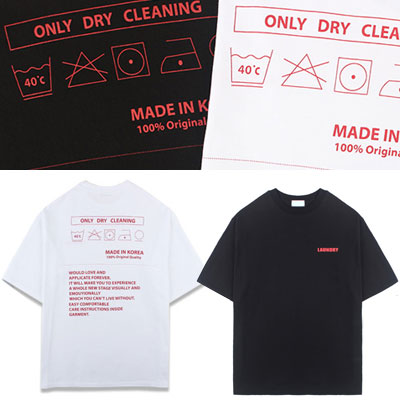 [UNISEX] ONLY DRY CLEANINGラベルプリントショートスリーブtシャツ/半袖(2color)