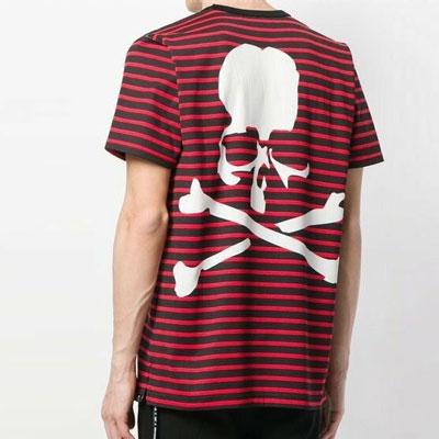 [UNISEX] ストライプバックスカルプリントショートスリーブtシャツ/半袖(3color)