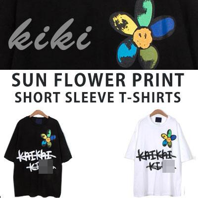 [UNISEX] サンフラワープリントショートスリーブtシャツ/半袖(2color)