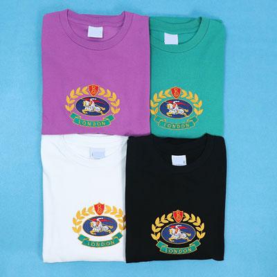 [UNISEX] SUPER OVER FIT!! エンブレム刺繍ポイントショートスリーブtシャツ/半袖(4color)