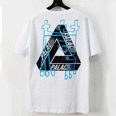[UNISEX] ブルー落書きトライアングルショートスリーブtシャツ/半袖-white
