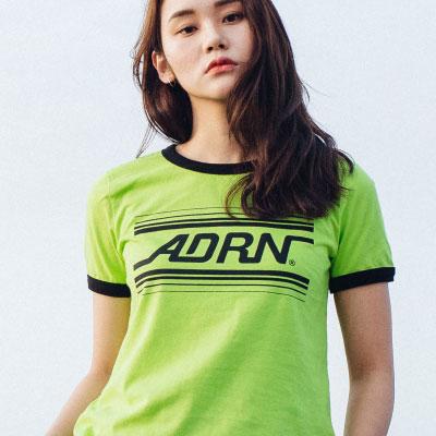 【2XADRENALINE】ADRNラインリンガーTシャツ(女性用/LIME)