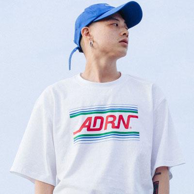 【2XADRENALINE】ADRNラインロゴ半袖Tシャツ -WHITE
