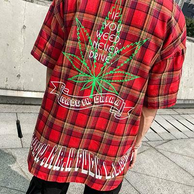[UNISEX] リーフプリントショートスリーブチェックシャツ(3color)