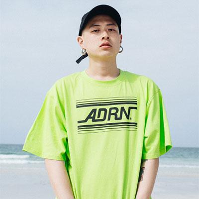【2XADRENALINE】ADRNラインロゴ半袖Tシャツ -LIME