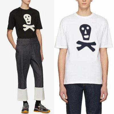 [UNISEX] スマイルスカルパッチショートスリーブtシャツ/半袖(2color, 2size)
