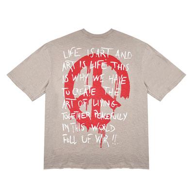 [UNISEX]ピースマークメッセージプリントオーバーサイズショートスリーブTシャツ半袖(3color)
