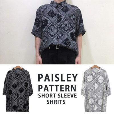 [UNISEX] ペイズリーパターンシャツの半袖シャツ(2color)