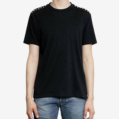 [UNISEX] ショルダーラインスタッドポイントショートスリーブtシャツ/半袖(2color 4size)