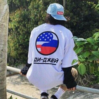 [UNISEX] アメリカフラグサークルプリントショートスリーブtシャツ/半袖(2color)