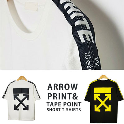 [UNISEX] アロープリントテープポイントショートtシャツ/半袖(2color)