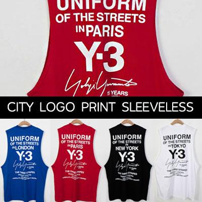 [UNISEX] CITYロゴバックプリントスリーブレスtシャツ/ノースリーブ/袖なし(4color)
