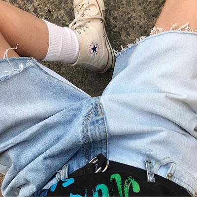 ハーフトーンディストロイドショートジーンズ/ショーツ(2size)