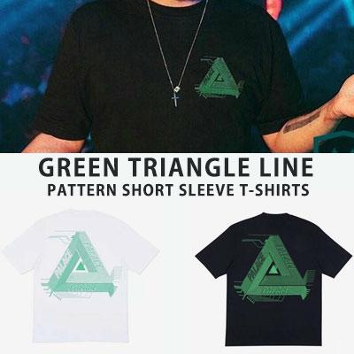 [UNISEX] グリーントライアングルラインパターンショートスリーブtシャツ/半袖(2color 2size)