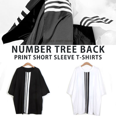[UNISEX] ナンバー3バックプリントショートスリーブtシャツ/半袖(2color)