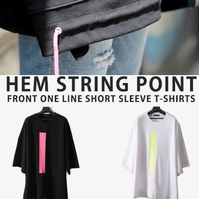 [UNISEX] ストリングポイントフロントワンラインショートスリーブtシャツ/半袖(2color)