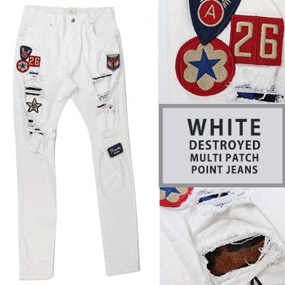 ホワイトマルチパッチポイントジーンズ(4size)