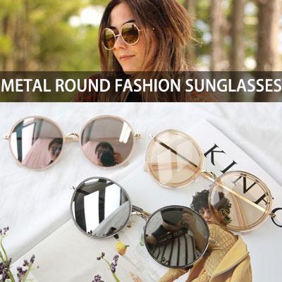 [UNISEX] メタルラウンドファッションサングラス(4color)