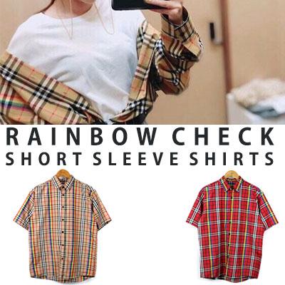 [UNISEX] Sandara st. レインボーチェックショートスリーブシャツ(2color)