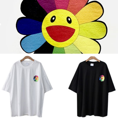 [UNISEX] スマイルレインボーサンフラワーショートスリーブtシャツ/半袖(2color)
