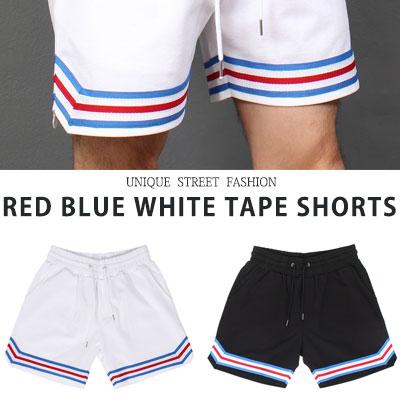 [UNISEX] レッドブルーホワイトテープショーツ(2color)