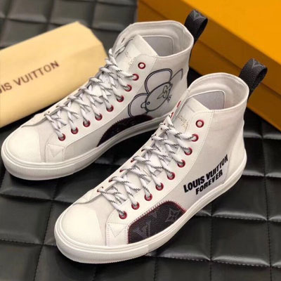 《only VIP》LINE Lou***tton Tattoo High Top Sneakers-White