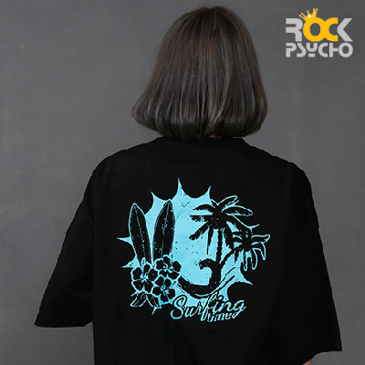 【ROCK PSYCHO】スカルサーフィン半袖Tシャツ(2colors)