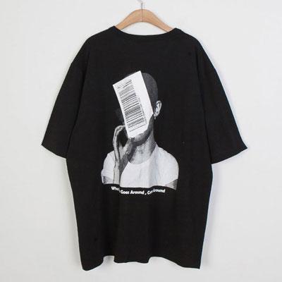 [UNISEX] フェイスバーコードポイントtシャツ/半袖(3color)