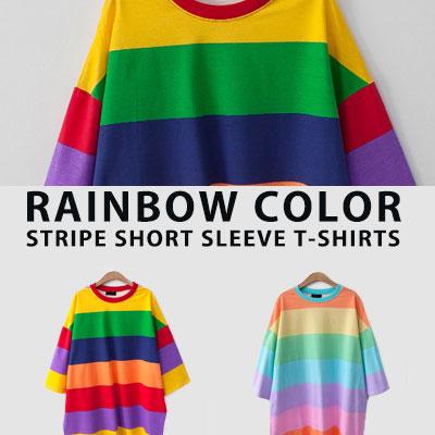 [UNISEX] レインボーカラーストライプショートスリーブtシャツ/半袖(2color)